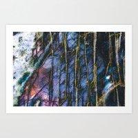 Snowy Forest Night Art Print