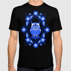 Delft Blue and White Owls and Flowers Mens Fitted Tee Black SMALL