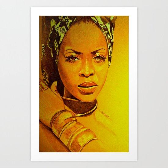 Erykah Badu Art Print By Dezz Manuel