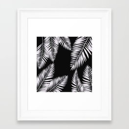 Framed Art Print - Watercolor tropical palm leaves black - LaVieClaire