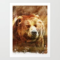 Rustic Grizzly Fine Art Print Art Print