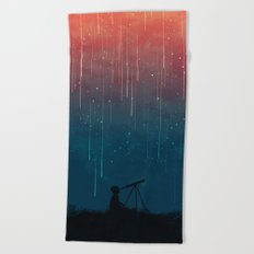 Meteor rain Beach Towel