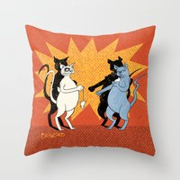 Cats playing conkers Throw Pillow