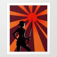 Warrior at Sunset Art Print