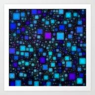 Post It Blue Glow Art Print
