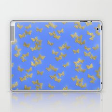Golden butterflies on blue Laptop & iPad Skin