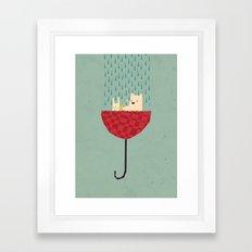 umbrella bath time! Framed Art Print