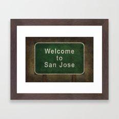 Welcome to San Jose road sign illustration Framed Art Print