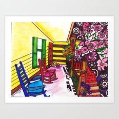 A Southerner's Porch View Art Print