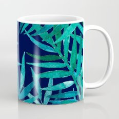 Watercolor Palm Leaves on Navy Mug