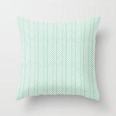 Herringbone Mint Throw Pillow