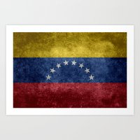 The national flag of the Bolivarian Republic of Venezuela -  Vintage version Art Print