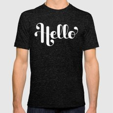 Hello Lettering Mens Fitted Tee Tri-Black SMALL