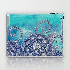 Mermaid's Garden - Navy & Teal Floral on Watercolor Laptop & iPad Skin