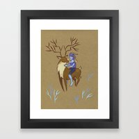 Deer and Girl Framed Art Print