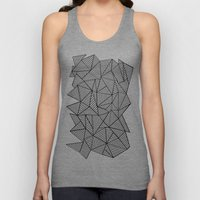 Abstraction Lines #2 Black and White Unisex Tank Top