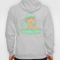 American Indian Nature Goddess in Seafoam Hoody