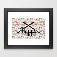funny crochet vintage floral happy hooker Framed Art Print