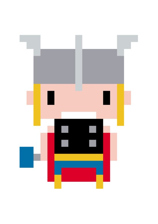 Pixel Thor Art Print
