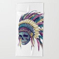 Native Skull Headdress Beach Towel