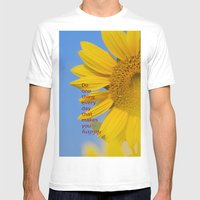 Be Happy. Mens Fitted Tee White SMALL