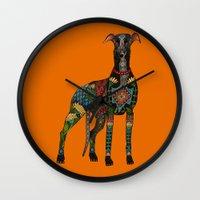 greyhound orange Wall Clock