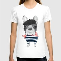 French Bulldog. Womens Fitted Tee White SMALL