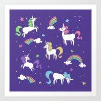 Unicorns and Rainbows - Purple Art Print