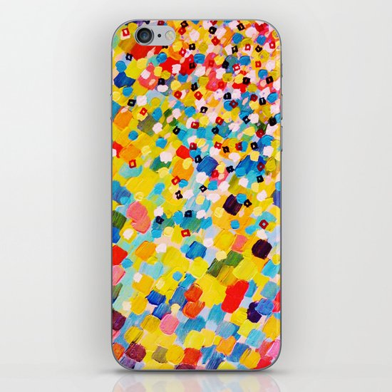SWEPT AWAY 2 - Vibrant Colorful Rainbow Mango Yellow Waves Mermaid Splash Abstract Acrylic Painting iPhone & iPod Skin