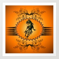 Lion With Flame Art Print