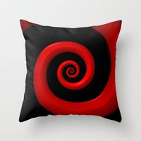 Red Spiral on Black Background Throw Pillow