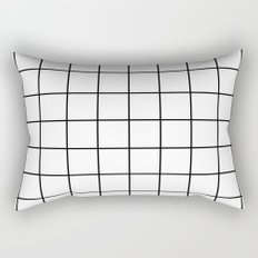 White Grid Rectangular Pillow