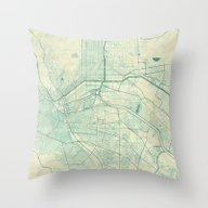 El Paso Map Blue Vintage Throw Pillow