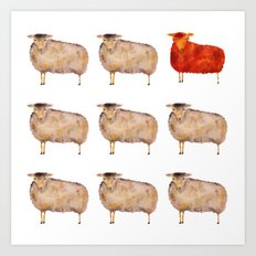 Fluffy Sheep Art Print
