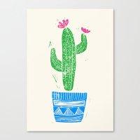 Linocut Cacti #2 in a pot Canvas Print
