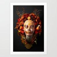 Pumpkin Harvest Muertita Art Print