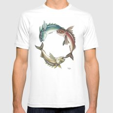 Circle of Fish White SMALL Mens Fitted Tee