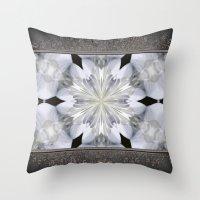 White Arctic Queen Kaleidoscope Throw Pillow