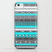 iPhone 5c Cases featuring Ice Mint Blue Grey Aztec Pattern iPhone by RexLambo