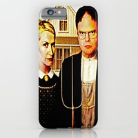 iPhone Cases featuring Dwight Schrute & Angela Martin (The Office: American Gothic) by Silvio Ledbetter