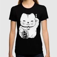 FORTUNE CAT Womens Fitted Tee Black SMALL