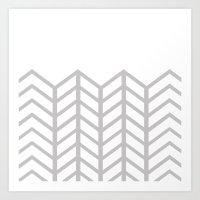 GRAY & WHITE LACE CHEVRON Art Print