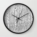 Birch Trees Black and White Illustration Wall Clock