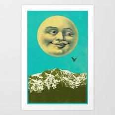 VINTAGE SMILING MOON Art Print