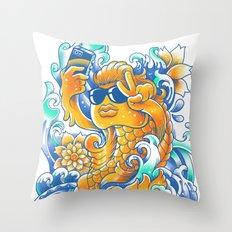 Selfie-ish Fishtail-ish Throw Pillow