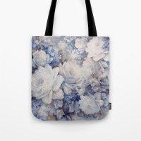 blue vintage floral Tote Bag