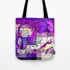 Purple White Commotion Tote Bag