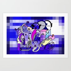 Blue White Commotion Art Print