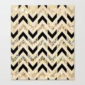 Black & Gold Glitter Herringbone Chevron on Nude Cream Canvas Print