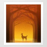 Sunrise Deer Art Print